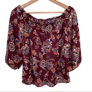 Ambiance boho off shoulder floral print blouse